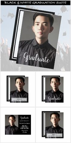GRADUATION MODERN PHOTO BLACK AND WHITE INVITATIONS AND ANNOUNCEMENTS This collection of modern graduation products includes announcements, party invitations, various versions of thank you cards, postage and a congratulations party poster. Simple modern fonts are used to convey information of the big event. Photo and text templates available on all these modern graduation photo products. #graduationinvitations #graduationannouncements