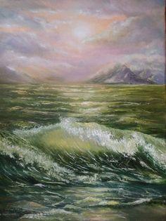 Original oil painting landscape oil painting seascape coast beach sea ocean rocks waves raging sea foam painting storm oil painting coastal