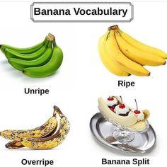 English Tips, Learn English, Good Vocabulary Words, Overripe Bananas, Banana Split, Ielts, Reading Comprehension, Fruit, Learning