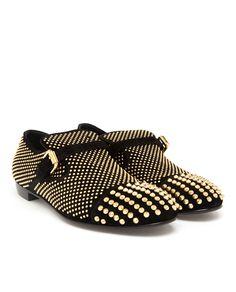 GIUSEPPE ZANOTTI   Studded Velour Slip-On Loafers.