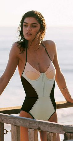 Mint bustier one piece swimsuit