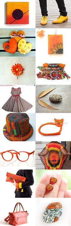 Crochet Vest , Yellow Heart , Neon Orange , Bucket Hat  by Elinor Levin on Etsy--Pinned with TreasuryPin.com