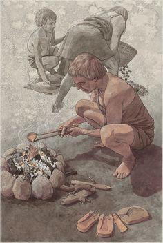 Historisk illustration Historische Illustration History illustration Human Evolution Tree, Ancient Art, Ancient History, Paleolithic Period, Indigenous Tribes, Science Illustration, Primitive Survival, Arte Cyberpunk, Thai Art