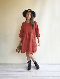Loose Linen Dress in Clay Orange Linen Dress Plus size Linen