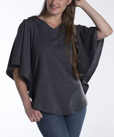 Take a look at this Charcoal Dahlia Cape-Sleeve Top by lur® on #zulily today!