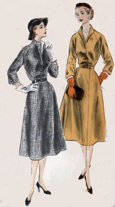 1950s LUCY Dress with pockets and Dickey Vogue 7505 Vintage 50s Womens Rockabilly Sewing Pattern Size 14 Bust 32 by sandritocat on Etsy