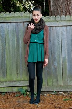 outfit: emerald-green buttonup dress, brown long pocketed cardigan, black infinity scarf, black tights, black flats love the simple hair pulled back and the pop of colors