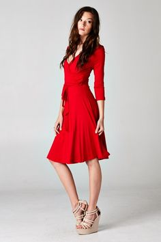 Classic, Elegant, Casual Gorgeousness in the Perfect Red. Relaxed Feminine Surplice Cut Dress that sits and flows beautifully. #womens #business #fashion
