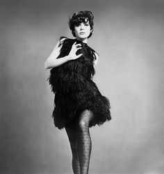 Elsa Martinelli in a short ostrich-feather dress by Chanel, photo by Willy Rizzo, Vogue UK April 1967
