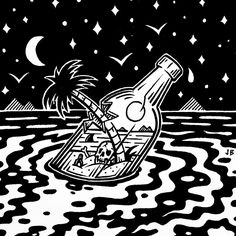 "2,207 curtidas, 38 comentários - Jamie Browne (@jamiebrowneart) no Instagram: ""Drifting...✨ #jamiebrowneart #adrift #jungle #lost #oceans #bottle #myisland #palmtree #skull…"""