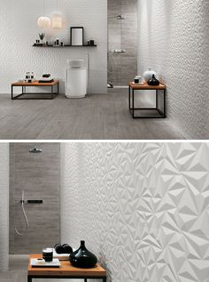 Bathroom Tile Idea - Install 3D Tiles To Add Texture To Your Bathroom | The geometric shapes in these 3D wall tiles create a modern and energizing feel in the bathroom, while the white color and the use of other natural materials makes the space calming and relaxing.