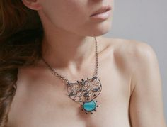 Turquoise Statement Necklace Mint Blue Metal Lace by ArtKvarta, $43.00