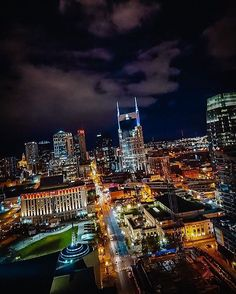"""""""#Nashville at night by @johnnymeant #InstagramTennessee #tennessee #tn"""""""