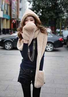 Women Fashion Winter Warm Long Thick Lamb Velvet Hooded Scarf Hat With Gloves