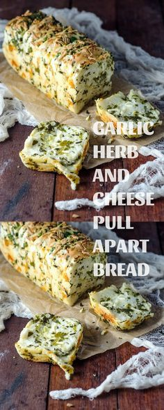 Garlic Herb And Cheese Pull Apart Bread Bread Machine Recipes, Bread Recipes, Crockpot Recipes, Baking Recipes, Pull Apart Cheese Bread, Herb Bread, Garlic Bread, Dinner Rolls Recipe, Good Food