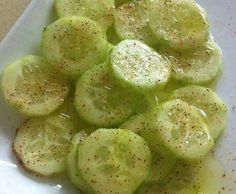 BE CAREFUL AS THESE ARE ADDICTIVE! CUCUMBERS WITH A BANG! BABY CUCUMBERS. INGREDIENTS : Baby cucumber Lemon juice Olive oil Salt and pepper Chile powder Instructions : Chop a baby cucumber and add lemon juice, olive oil, salt and pepper and chile powder on top. YUM! CLICK NEXT PAGE BELOW TO CONTINUE READING …