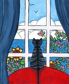 Nova Scotia Folk Art, Shelagh Duffett Prints & Painting by AliceinParis I Love Cats, Crazy Cats, Bb Chat, Grey Tabby Cats, Frida Art, Cat Window, Pintura Country, Cat Cards, Cat Drawing