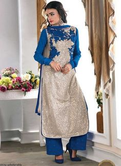 Sensible Net Blue Satari Work Embroidery Thread Flower Party Wear Salwar Kameez