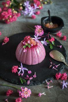 Davidson's plum panna cotta with charred finger lime | heneedsfood.com