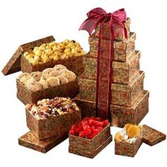 Broadway Basketeers Celebration Gift Tower: A unique gift for that special someone. 5 gift boxes open to reveal an assortment of gourmet goodies including gourmet caramel popcorn, chocolate chip cappuccino cookies, cranberry health mix and much more! Gourmet Gifts, Food Gifts, Gourmet Recipes, Snack Recipes, Gourmet Foods, Bridal Shower Snacks, Kosher Gift Baskets, Family Gift Baskets, Best Candy