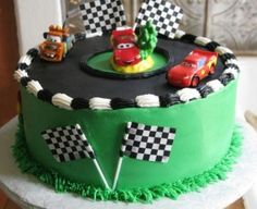 hmm. in an oval shape, and get a doc. car for in the middle, and mcqueen, chick, the king for the racetrack. love it!! Lightning Mcqueen Cake, Car Cookies, Green Cake, Pixar Cars Birthday, Race Car Birthday, Cars Birthday Parties, Disney Cars Cake, Disney Cars Party, Dessert