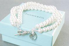 twisted pearl bracelet with Swarovski heart charm by BijouxMimi, $56.00