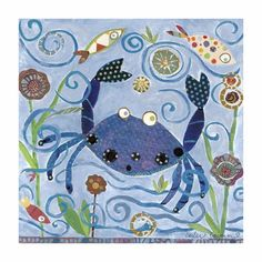 blue crab wall canvas