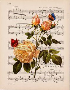 decoupage x imprimir. Vintage Cards, Vintage Paper, Vintage Images, Decoupage Vintage, Decoupage Paper, Sheet Music Art, Music Sheets, Music Music, Shabby Chic