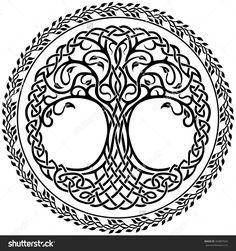 Vector Ornament, Decorative Celtic Tree Of Life With Floral Round ...