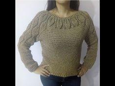 Just perfect x 8 chains-128 γαιτανακια για 16 φυλλα Medium size!!!!!Tutorial sueter Hojitas Facil y Rapido 1ra Parte Crocheteando con la Comadre - YouTube Crochet Jumper, Crochet Blouse, Crochet Shawl, Diy Crochet, Crochet Baby, Crochet Top, Knitting Videos, Crochet Videos, Shrugs And Boleros