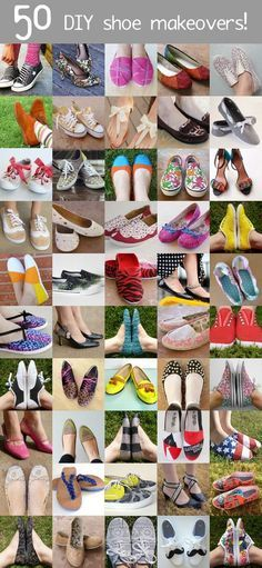 DIY shoe makeover ideas >awesome tutorials. Paint, glitter, embellishments, lace . . . everything you can imagine!