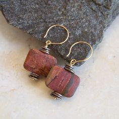Red Creek Jasper Earrings Stone Earrings Jasper by ElektraJewelry, $30.00