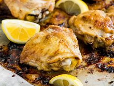 Lemon-and-Garlic Baked Chicken Thighs | Easy and delicious, this baked chicken thigh recipe is perfect for a last-minute weeknight meal.