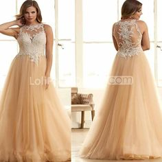 Silhouette:  Ball Gown    Neckline:  Round Neck    Sleeve Length:  Sleeveless    Waist:  Natural    Back Details:  Zipper    Hemline/Train:  Floor-length    Embellishment:  Appliques    Fabric:  Tulle    Fully Lined:  Yes    Built-in Bra:  Yes