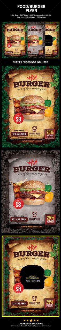 Food/Burger Flyer - Restaurant Flyers,#Burger #Flyer Download here:  https://graphicriver.net/item/foodburger-flyer/19315886?ref=suz_562geid