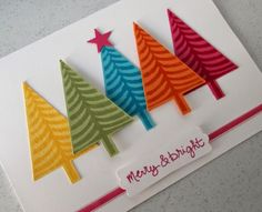 Use your Festival of Trees stamp and punch with colorful paper scraps to create this nontraditional Christmas card. Use your favorite sentiment stamp and ribbon scrap to embellish. Christmas Cards To Make, Noel Christmas, Handmade Christmas, Holiday Cards, Karten Diy, Winter Cards, Merry And Bright, Creative Cards, Homemade Cards