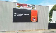 MacDonalds in Havelock Long White Cloud, Kiwiana, Im In Love, Billboard, Letter Board, Reflection, Poster Wall