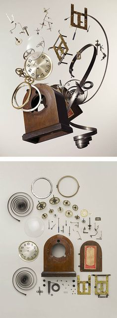 "Canadian artist and photographer Todd Mclellan explores the beauty of deconstructed objects in his latest series entitled ""Disassembled"". ""Todd meticulously disassembles each device and carefully… Object Photography, Life Photography, Blackout Tattoo, Newspaper Art, Collections Photography, Grid Design, Design Art, Clock Parts, Gcse Art"