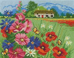DMC counted cross stitch kit. Includes 14ct aida, pre-sorted DMC stranded cotton, charts and full instructions. Uses cross stitch, backstitch and french knots. 33 colours.  - Available from Johnson Crafts http://www.johnsoncrafts.co.uk/seasonal-landscapes-summer-meadow.html
