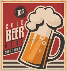 Baixar - Cartaz de vetor de cerveja retrô — Ilustração de Stock #39048429