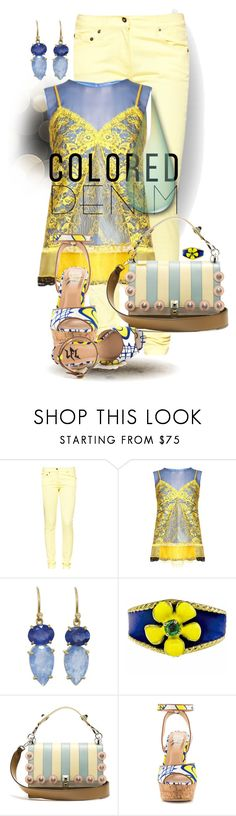 """Blue and Yellow: Colored Denim"" by flippintickledinc ❤ liked on Polyvore featuring Great Plains, Altuzarra, Irene Neuwirth, Fendi, Lust For Life and coloredjeans"