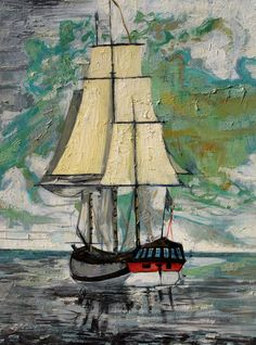 Sailing Away Nautical Painting Oil on Canvas by JohnKlineArtwork, $115.00