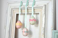 easy mod podge easter eggs for easter decor!
