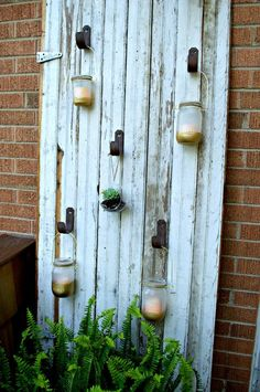 Outdoor Mason Jar Candle Barn Door