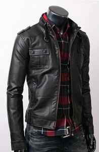 Fine Quality Strap Pocket Slim Fit Men Leather Jacket Black