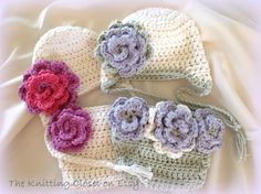 Sweet Flower Diaper Cover and Hat Set via Craftsy