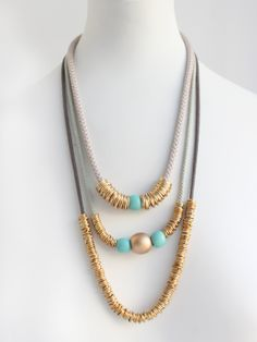 Rings & Beads 3 Tier Necklace BY NOPHAR HAIMOVITZ