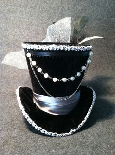 Black Velvet Mini Top Hat , Steampunk, Women Headpiece, Gothic Hat, Victorian Hat. Ready To Ship. $45.00, via Etsy.
