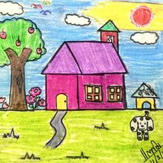 My sweet home! My little girl was draw 19 years ago. Basic Drawing, Drawing Lessons, Kids Art Class, Art For Kids, Disney Princess Sketches, House Drawing For Kids, Drawing Competition, Cartoon House, Doodle Cartoon