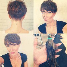 short pixie haircut, hair change, short hair don't care, bowl cut with a twist, pixie cut, brown hair, undercut